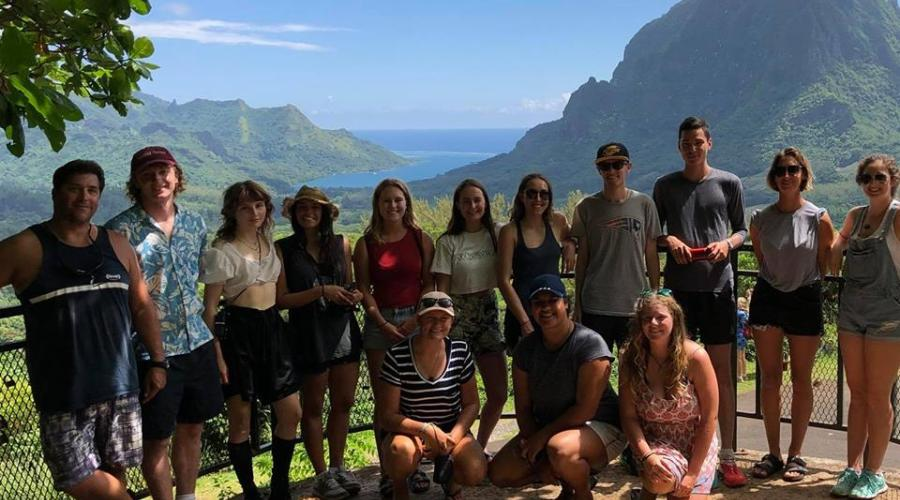 students at the Belvedere lookout on Moorea