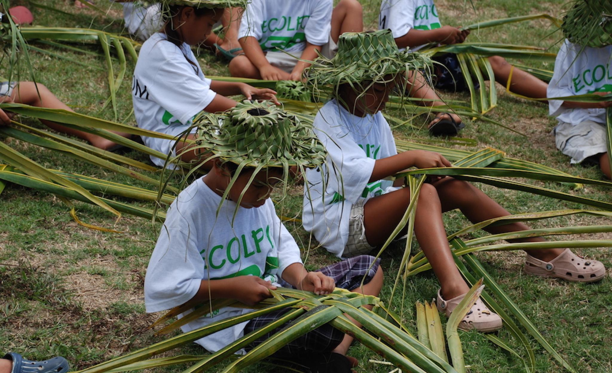 weaving with coconut leaves